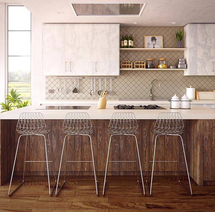 Placa para salpicaduras de azulejos cuadrados lujosos con gabinetes blancos